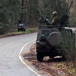 Vehicle movements in the Fort Lewis, WA, training area. Ex Worthy Sapper, Feb 2016.