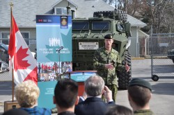 13 March 2018Kelowna, BCCanada's Minister of National Defence, Harjit Sajjan, speaks to reservists after officially announcing the launch of the Full-Time Summer Employment program at the BC Dragoon's Armoury in Kelowna, BC.Photograph by Bombardier Albert Law39 CBG Public Affairs