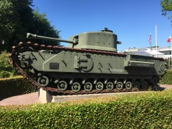 Churchill Mk VII Crocodile Flamethrower tank on display outside the Battle of Normandy Memorial Museum in Bayeux